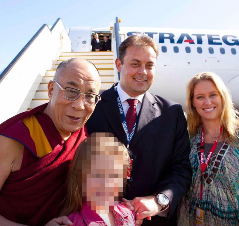 Michael James and Rachel James with the Dalai Lama.
