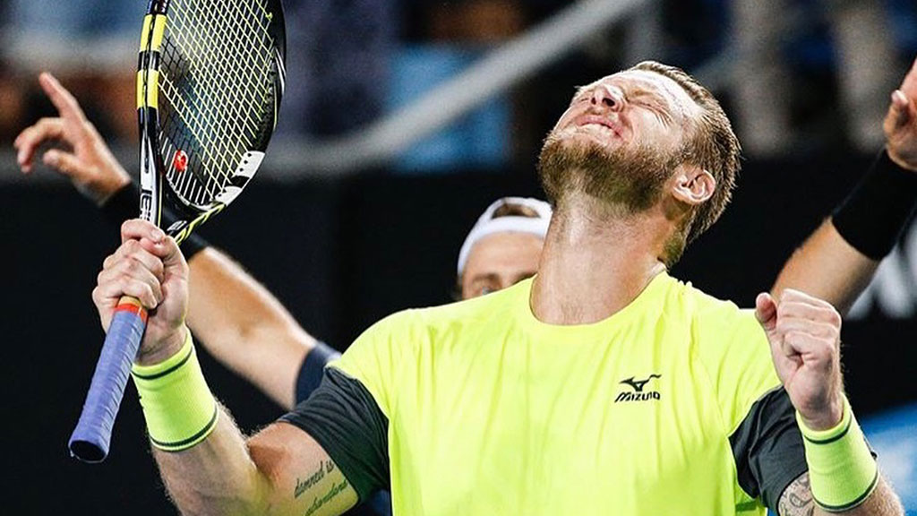 Sam Groth ace celebration
