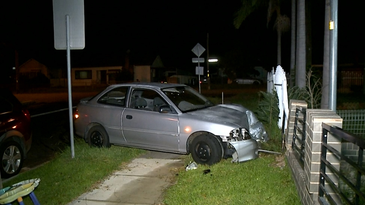 Two 15-year-old girls allegedly drove stolen car into western Sydney home