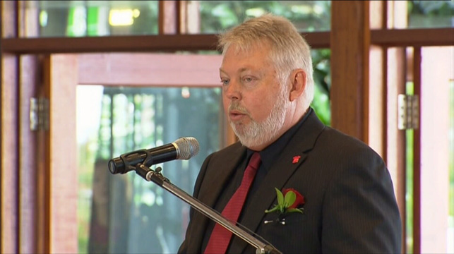 Daniel's father Bruce Morcombe speaks during the funeral.