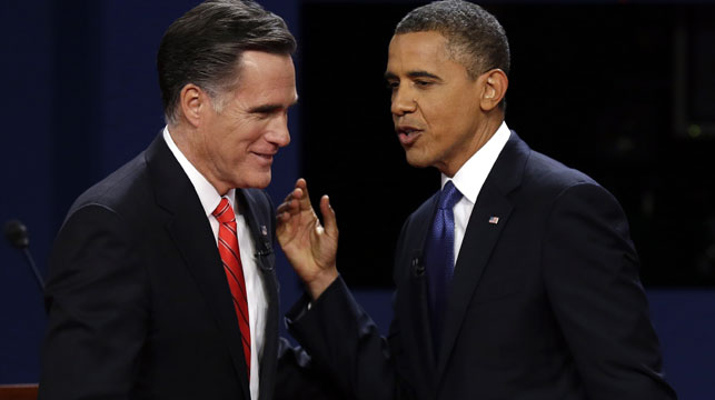 Mitt Romney and Barack Obama during a debate before the 2012 presidential election. (AAP)