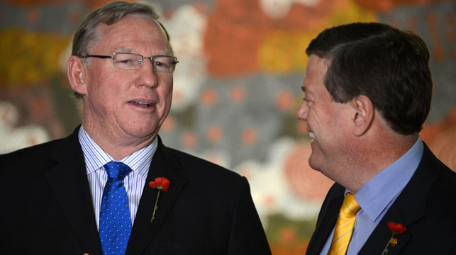 Former Deputy Queensland Premier Jeff Seeney and ex-treasurer Tim Nicholls. (AAP)