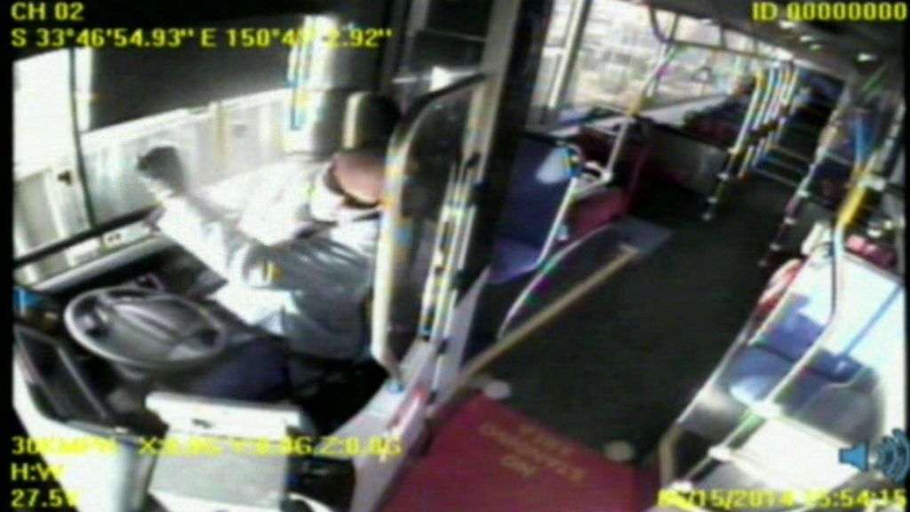 The bus driver appears to fall asleep before the vehicle smashes into a home, with a family of five inside. (9NEWS)