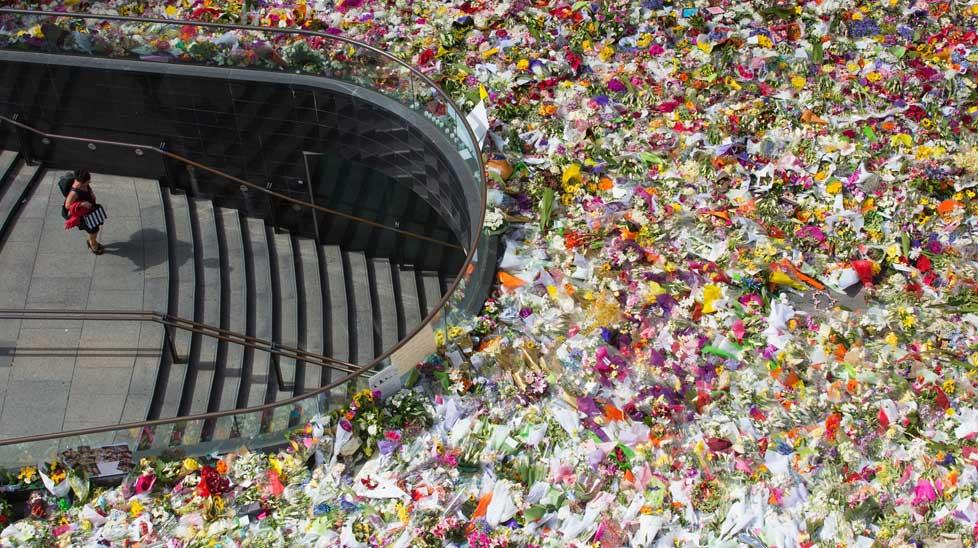 The Sydney siege flower tributes.