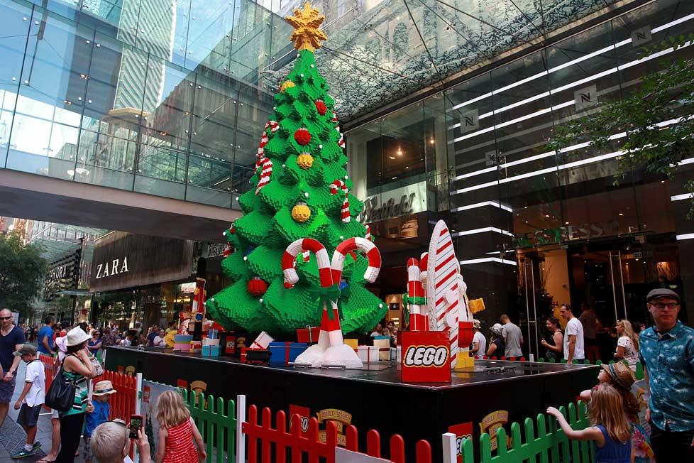 Last year Sydney's Pitt Street Mall featured a Christmas tree made of Lego. (Lisa Maree Williams/Getty)
