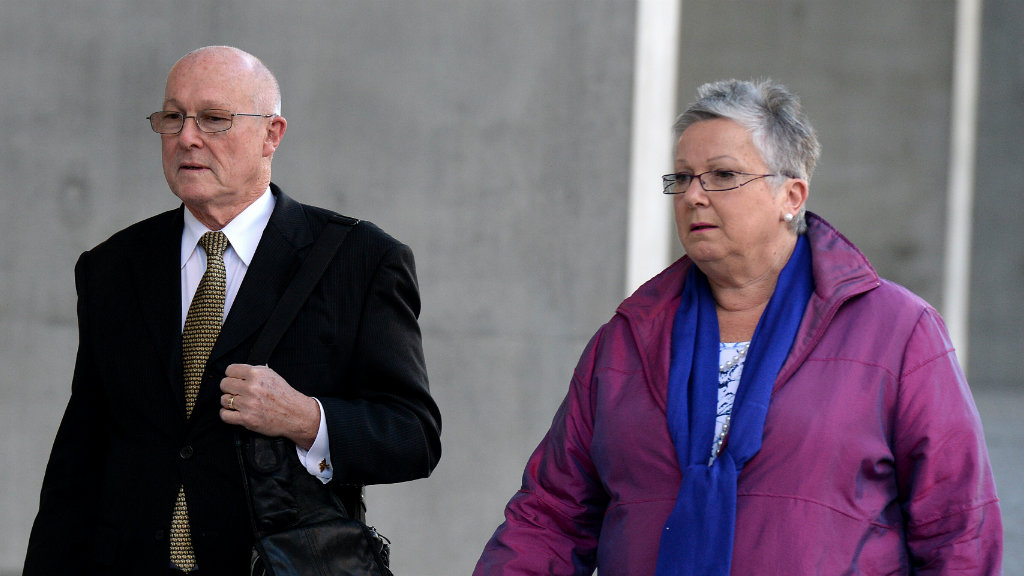 Gerard Baden-Clay's parents, Nigel and Elaine, leave the Supreme Court in Brisbane, Friday, July 11, 2014. (AAP)