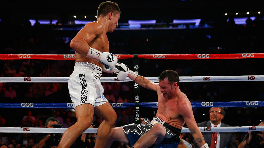 Gennady Golovkin knocks out Daniel Geale in the third round to win the WBA/IBO middleweight championship at Madison Square Garden. (Mike Stobe/Getty Images)