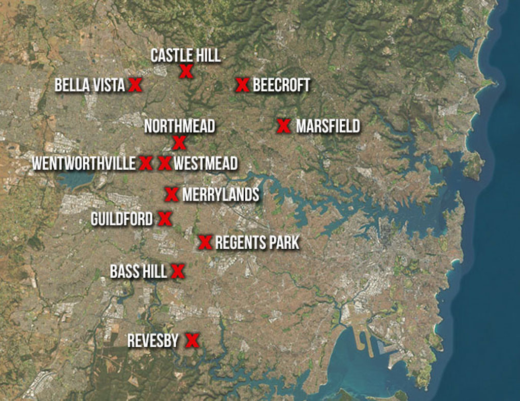 Police have targeted 15 properties in Sydney's north west. (9NEWS)