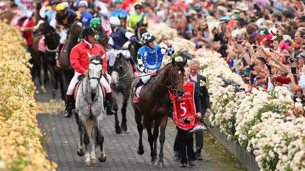 Ryan Moore riding Protectionist returns after winning the Emirates Melbourne Cup. (Getty)