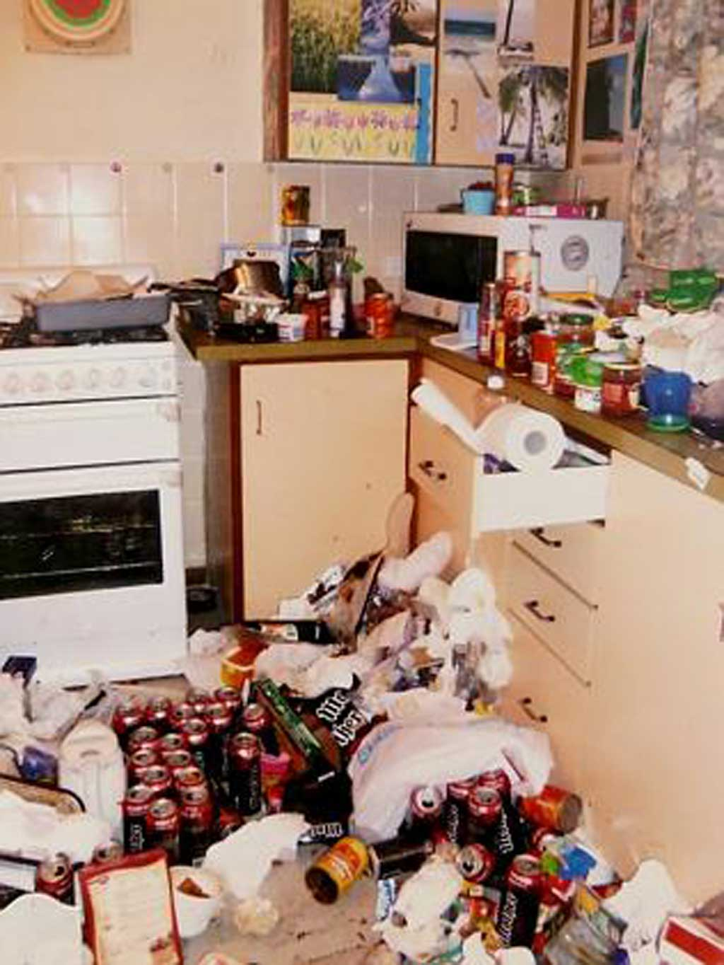 This photo shows the kitchen in the home, strewn with energy drinks. (Supplied)