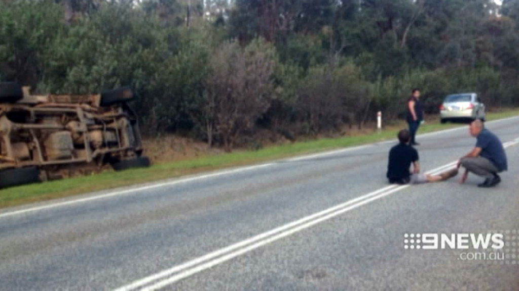 The over-turned ute on the Brookton Highway. (9NEWS)