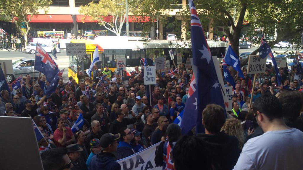 The group's rally in Adelaide. (9NEWS)