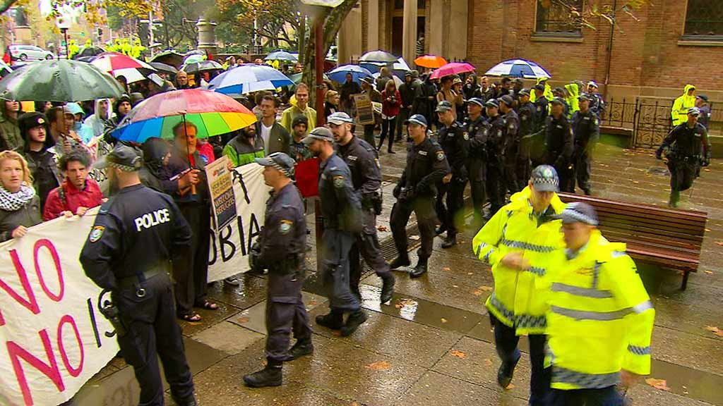 Police monitoring protesters in Sydney. (9NEWS)