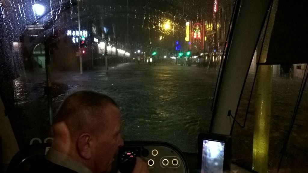 Twitter user @ronnie1924 posted this photo of a Sydney tram stuck in Haymarket due to flooding.