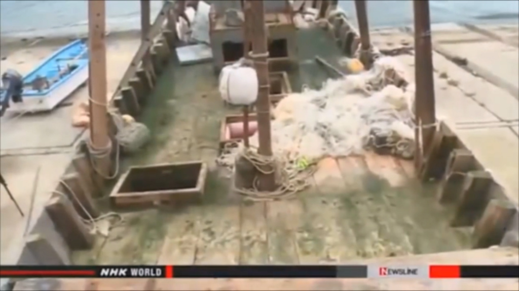 "The deck of one of the ""ghost ships"". (NHK)"