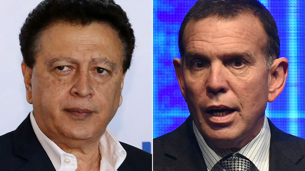 President of the Honduran Football Federation Alfredo Hawit (Left) and president of the South American Football Confederation Juan Angel Napout
