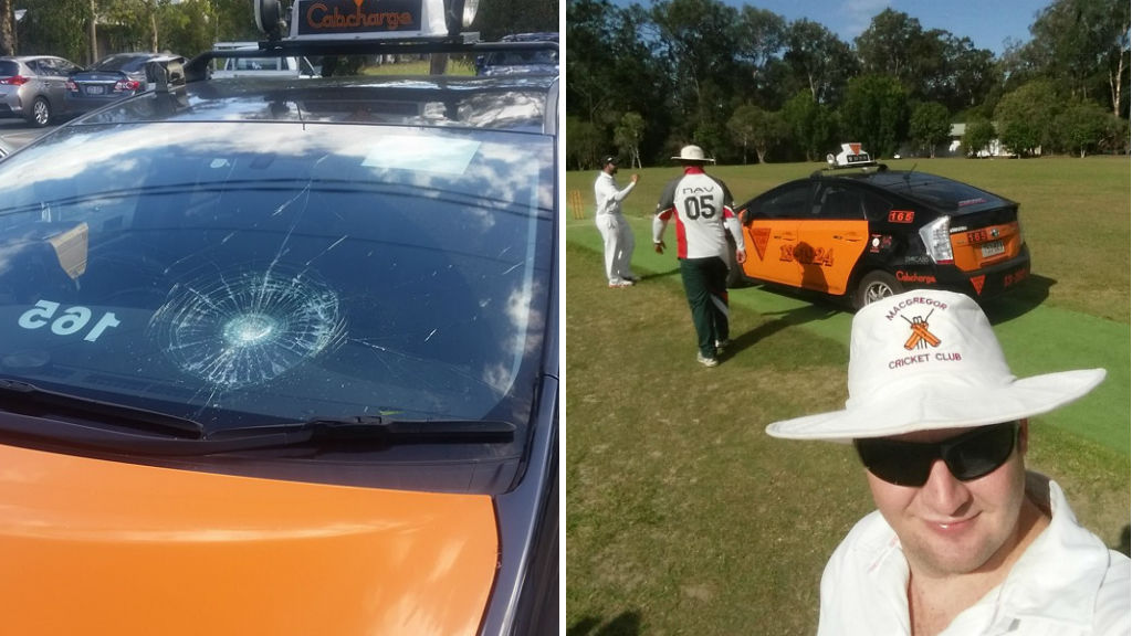 The ball smashed the taxi's windscreen (left) and players posed for selfies in front of the Toyota. (Ben Carlton)