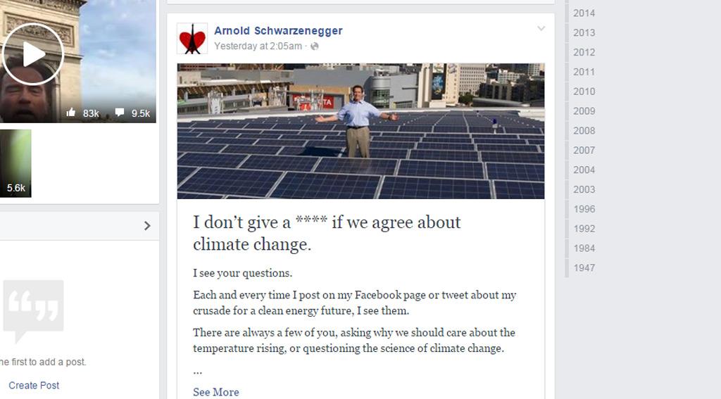 Schwarzenegger's Facebook post. (Facebook/Arnold Schwarzenegger)