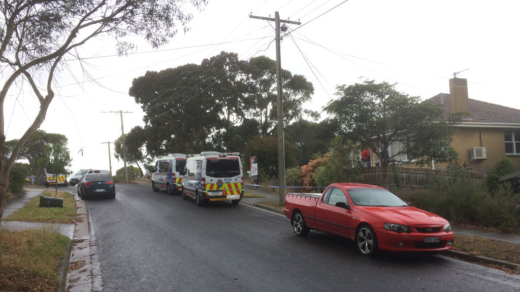Police and paramedics at the scene of the suspected aggravated burglary in Frankston. (9NEWS)