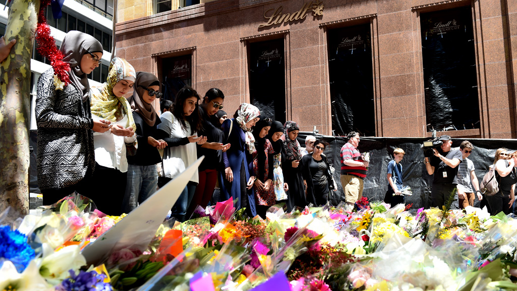 A memorial at Martin Place after the Sydney siege. (AAP)