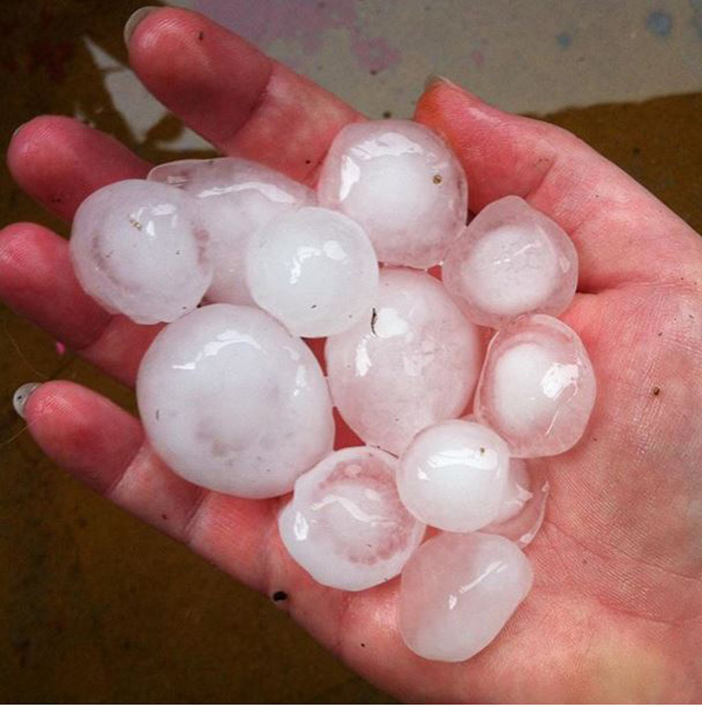 Large hail was reported across Sydney's south.  (Instagram/Rebecca Murphy)
