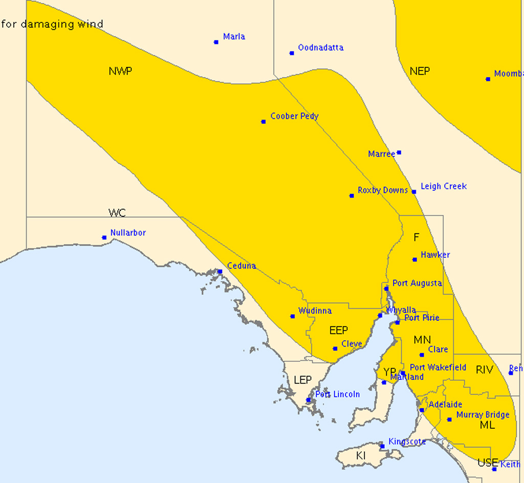 Severe thunderstorm warning issued for inland South Australia
