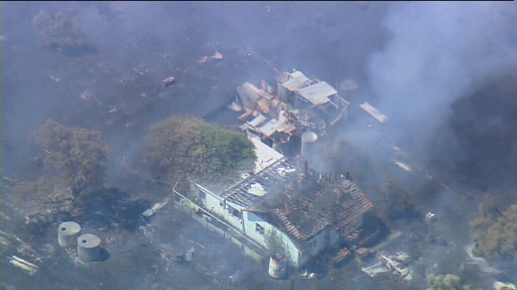 Several homes and sheds appear to have been gutted by the bushfire. (9NEWS)