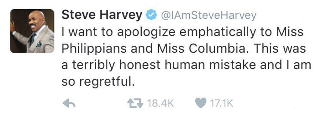 Miss Universe host Steve Harvey tweeted an apology, but spelled Philippines and Colombia wrong. It was retweeted more than 18,000 times before it was deleted. (Twitter)
