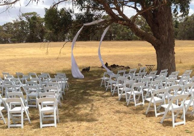The wedding set-up before the fires approached. (Ennis Cehic)