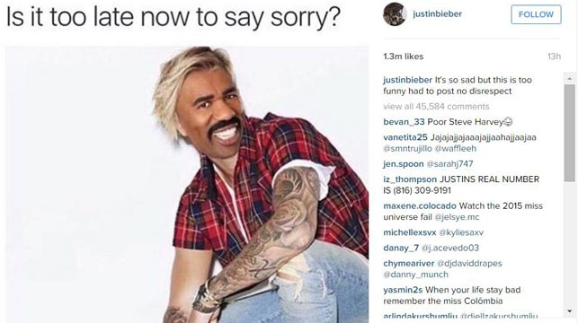 Justin Bieber joined in by mocking host Steve Harvey on Instagram.