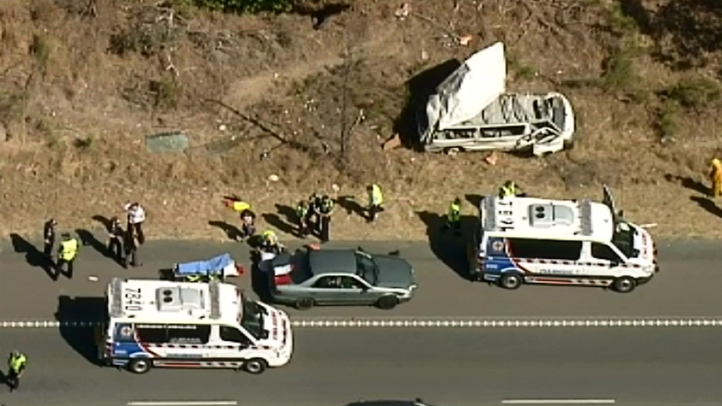 Eight injured in mini-bus rollover at Tallarook in Central Victoria