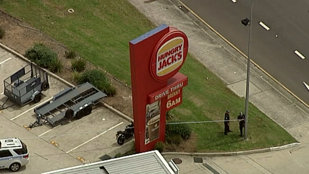 The Hungry Jack's restaurant is one of several large fast food outlets at that intersection. (9NEWS)