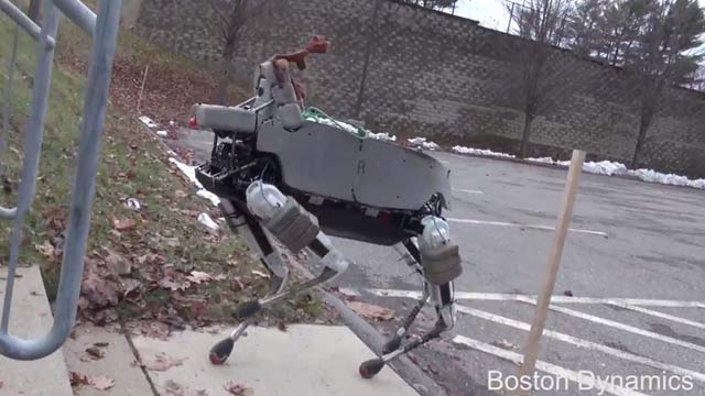 """<p>Google's robotics division has unveiled a new mechanical dog affectionately nicknamed 'Spot'. </p> <p> Long before they were acquired by the internet giant, Boston Dynamics was turning tech-heads with their incredible all-terrain quadrupedal bots. </p> <p> The company unveiled the advanced BigDog in March, 2013 which can carry heavy objects over mountains and through streams and has arms able pick up all manner of objects. </p> <p> Now Boston Dynamics has created a more advanced little brother for BigDog. </p> <p> With Spot there are all the same features BigDog but on a robot 34kg lighter. </p> <p> Spot is able to run up and turn around on steep gradients without losing its balance and it can climb stairs with ease thanks to it """"sensor head"""". </p> <p> And as master of balance, Spot can take a hard kicking in its electronic guts and still stay standing. </p> <p> And although spot has no feelings, you can't help but feel sorry for the bot when it's kicked. </p> <p> The smaller robot dog can operate inside and out and its creators hope it could be used in the near future in search-and-rescue operations and assisting in disaster zones.  </p> <p> Spot is just the latest addition to the expanding and exciting universe of robotics. </p> <p> Take a look through for more mechanical marvels. </p> <p> </p>"""