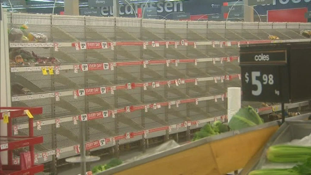 Store shelves have been emptied as people stock up. (9NEWS)
