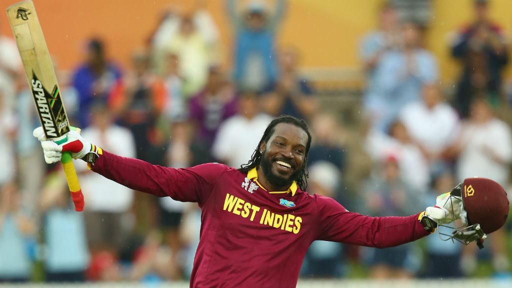 Chris Gayle celebrates his double century. (Getty)