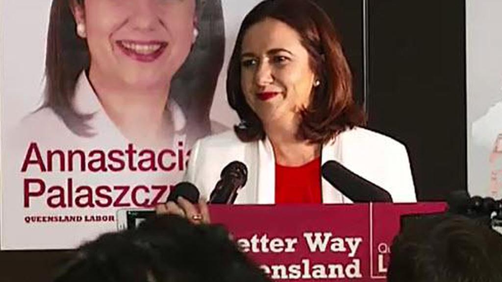 Annastacia Palaszczuk addresses Labor supporters on election night. (9NEWS)