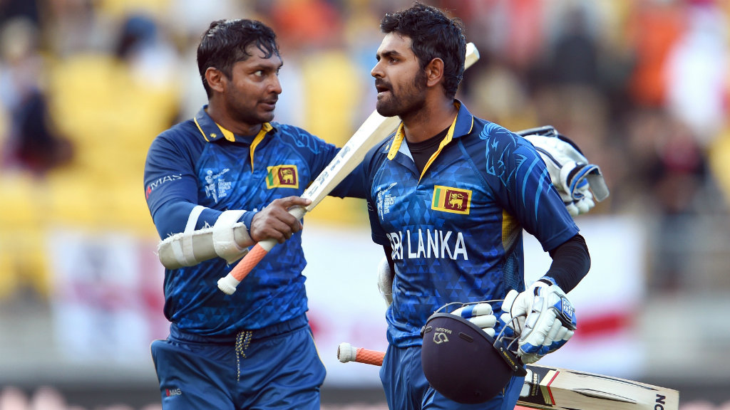 Kumar Sangakkara and Lahiru Thirimanne celebrate after hitting the winning runs against England. (Getty)