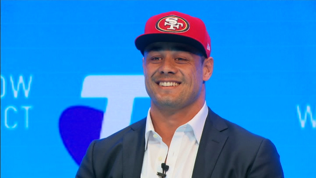 Jarryd Hayne has announced his new allegiance to NFL franchise the San Francisco 49ers. (9NEWS)