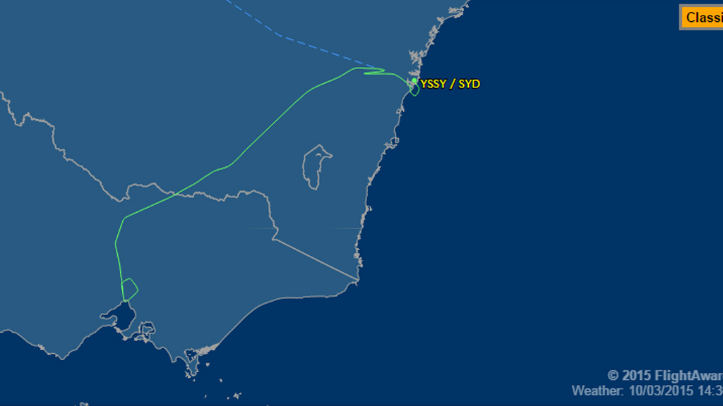 Online flight radars show the aircraft diverting to the south en-route to Kuala Lumpur. (FlightAware)