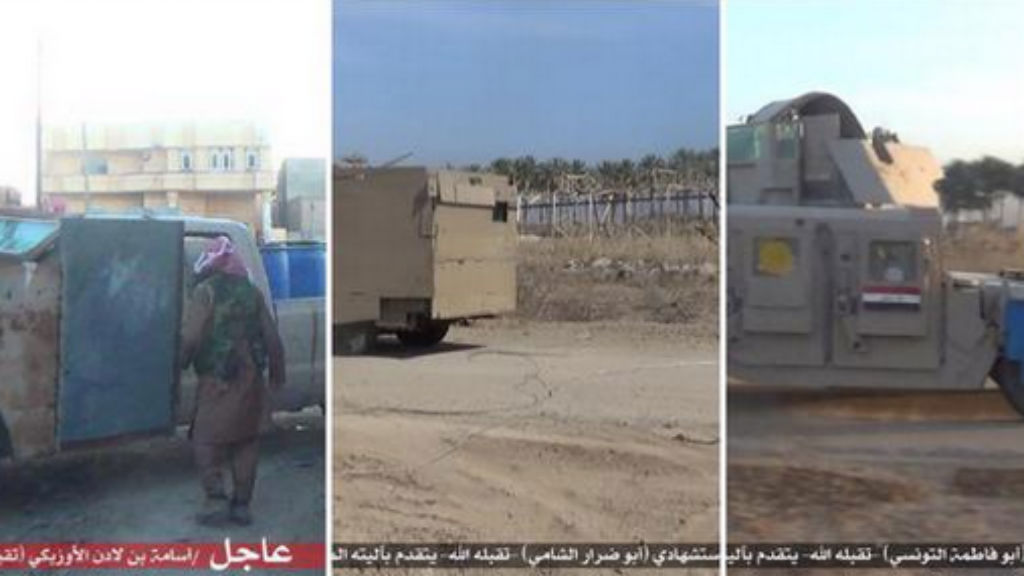 Images of the armoured Humvees used in the suicide bombing in Ramadi. (Twitter)