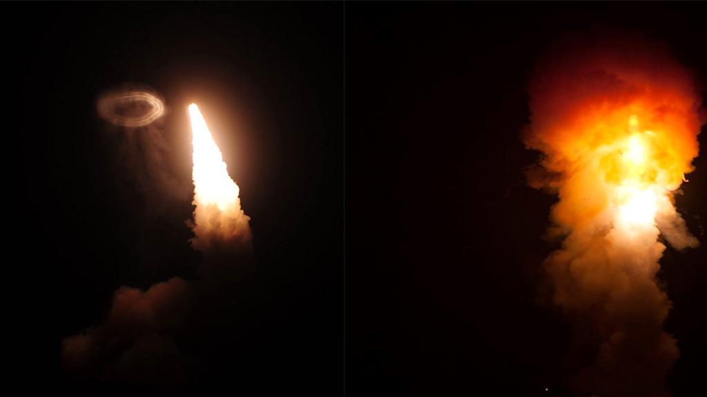 Missile launch creates rare smoke ring and 'smoke angel'