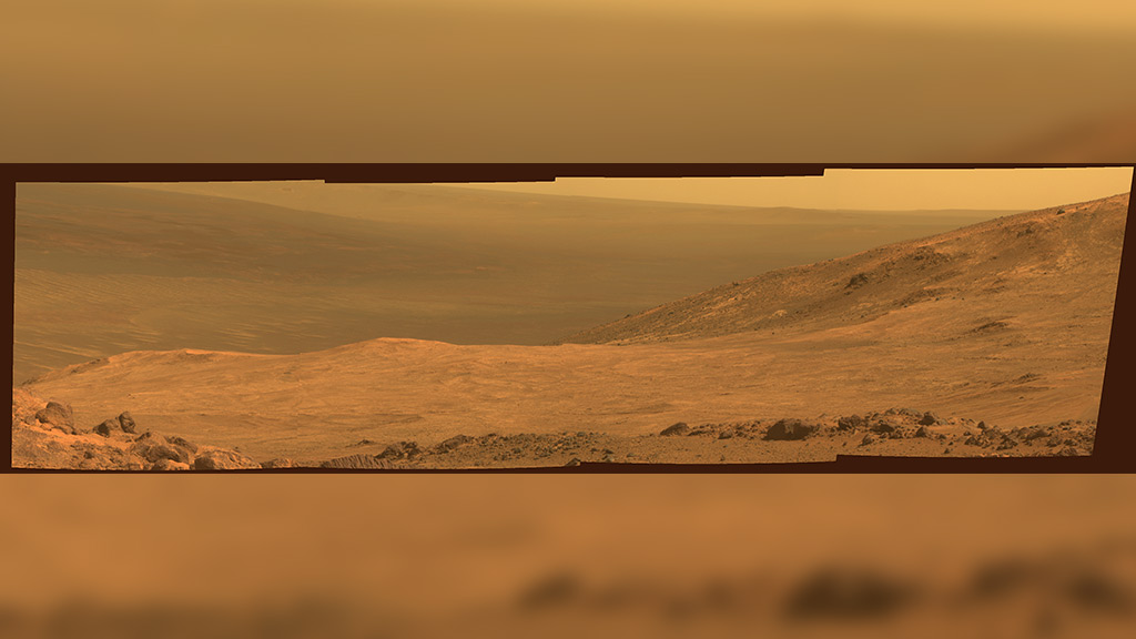 The image is stiched together from four pointings of the Rover Opportunity's panoramic camera. (NASA)