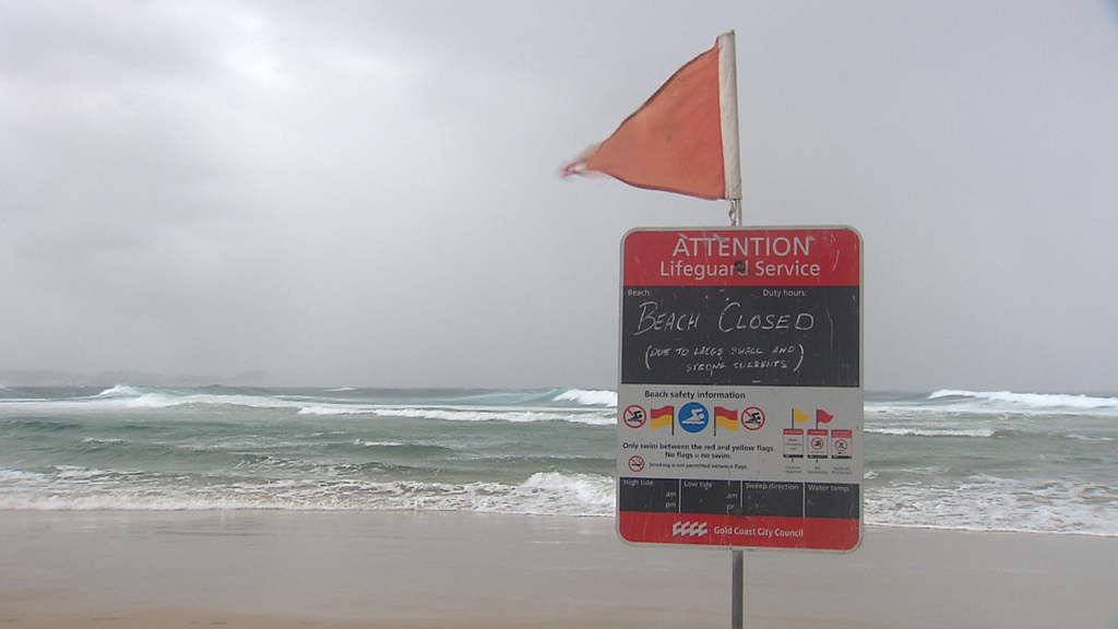 """Beaches have been closed along the south-east coast as the BoM warns of """"deceptively"""" powerful surf. (9NEWS)"""