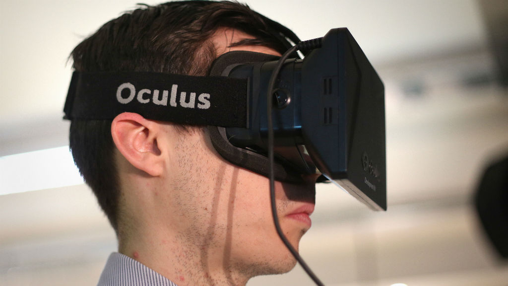 DK1 Oculus Rift headset being worn at the FLUX Innovation Lounge at Engage in London. (AAP)