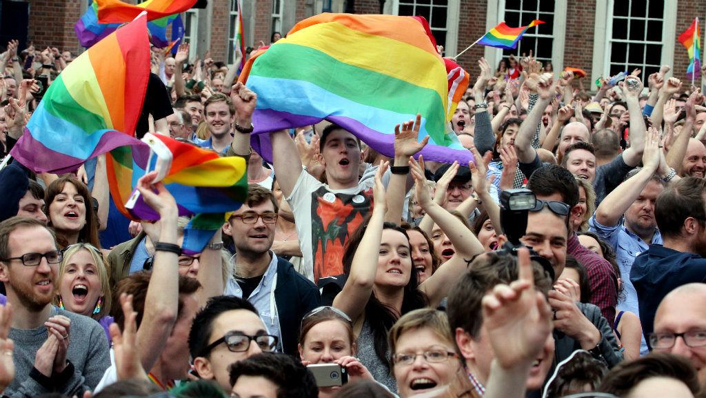Gay marriage supporters in Ireland cheer after the referendum. (AFP)