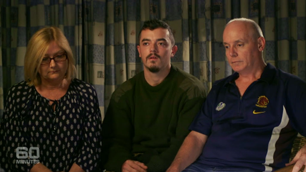 Scott and Julia Dyball with son Ashley. (60 Minutes)