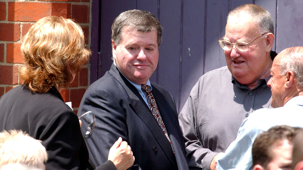 Fellow gangland figure Lewis Moran at Kinniburgh's funeral. Moran was also later shot dead. (AAP)