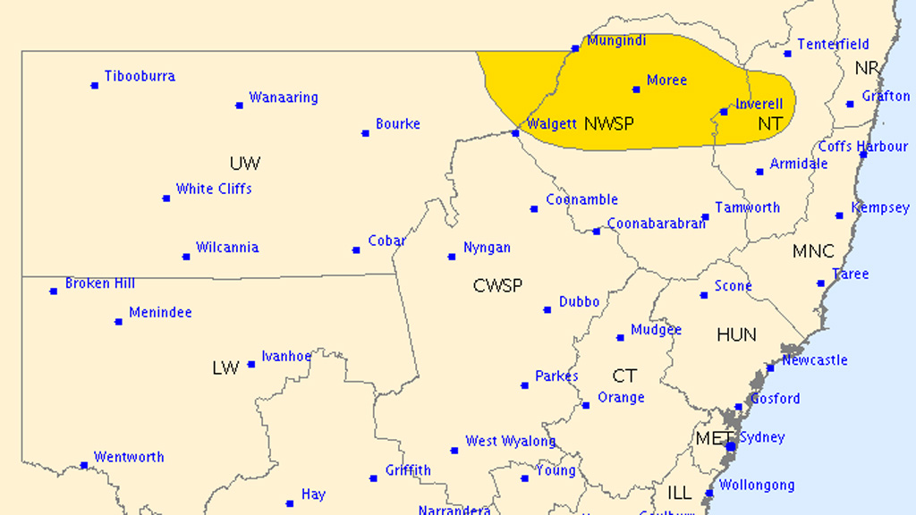 Severe thunderstorm warning issued for northern NSW