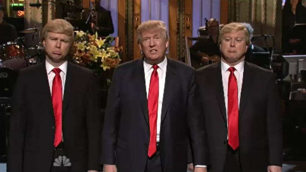 Hundreds protest outside NBC as Donald Trump hosts SNL
