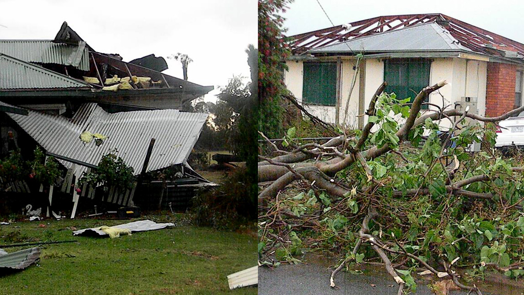 Damage in nearby Strathmerton yesterday. (Facebook)